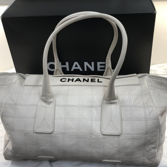 9ff76b640cb9 CHANEL Bags | Vintage White Cream Calfskin Travel Bag | Poshmark